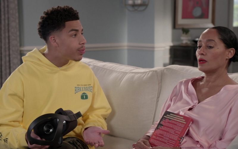 BornxRaised Yellow Hoodie Worn by Marcus Scribner in Black-ish Season 6 Episode 8 (2)