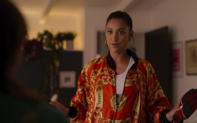 Chanel Bomber Jacket Worn by Shay Mitchell as Stella Cole in Dollface Season 1 Episode 6 (7)