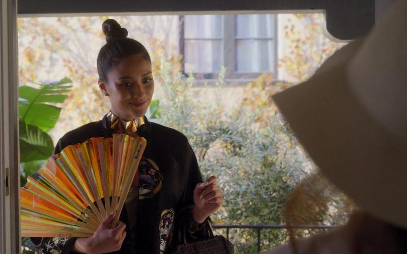 Daftboy Flash Fan Fantasy and Fendi Handbag Used by Shay Mitchell as Stella Cole in Dollface Season 1 Episode 2