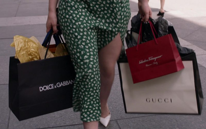 Dolce & Gabbana, Salvatore Ferragamo and Gucci Paper Bags Held by Emma Kenney as Debbie Gallagher in Shameless Season