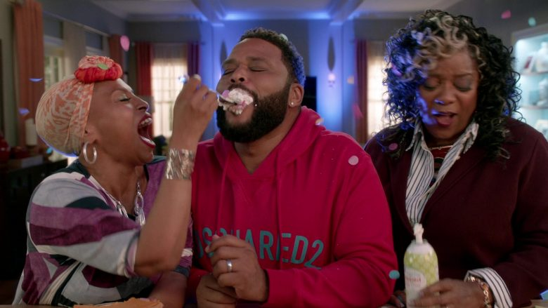 """Dsquared2 Red Hoodie Worn by Anthony Anderson in Black-ish Season 6 Episode 8 """"O Mother Where Art Thou?"""" (2019) - TV Show Product Placement"""