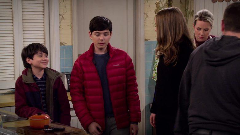"""Eddie Bauer Red Jacket Worn by Mason Davis as Sean Quinn Jr. in Merry Happy Whatever Season 1 Episode 1 """"Welcome, Matt"""" (2019) TV Show"""