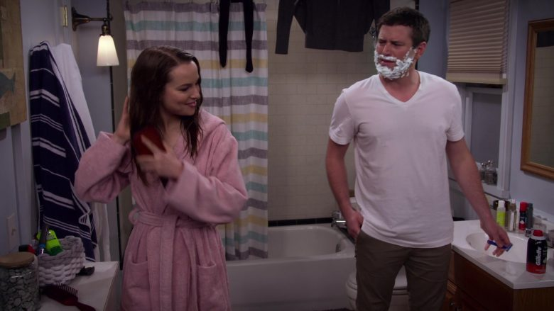 """Gillette Shaving Cream Used by Brent Morin as Matt in Merry Happy Whatever Season 1 Episode 5 """"Twas the Night Before the 4th Night of Hanukkah"""" (2019) TV Show"""