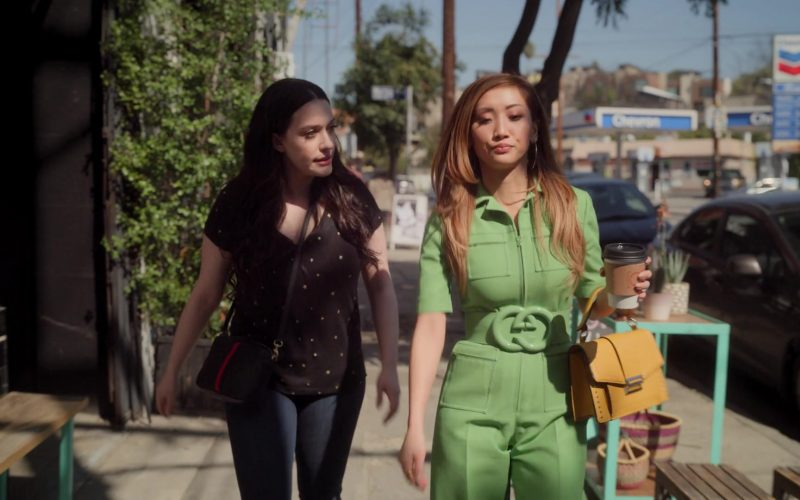 Gucci Green Wool Silk Belted Jumpsuit Worn by Brenda Song as Madison Maxwell in Dollface Season 1 Episode 1 (3)
