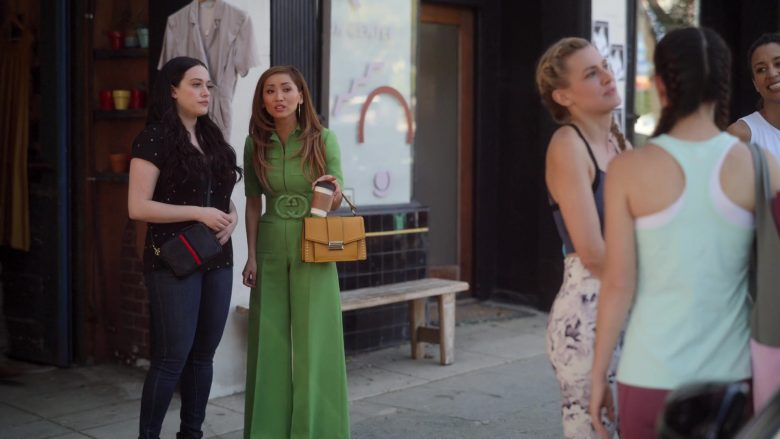 "Gucci Green Wool Silk Belted Jumpsuit Worn by Brenda Song as Madison Maxwell in Dollface Season 1 Episode 1 ""Guy's Girl"" (2019) - TV Show Product Placement"