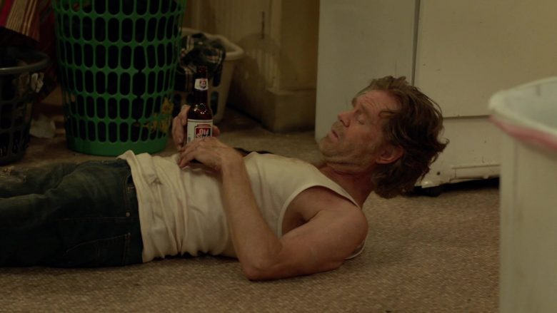 """Old Style Beer Enjoyed by William H. Macy as Frank Gallagher in Shameless Season 10 Episode 1 """"We Few, We Lucky Few, We Band of Gallaghers!"""" (2019) - TV Show Product Placement"""