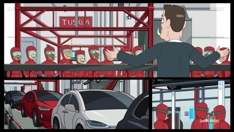 Tesla as Tuskla and Elon Musk as Elon Tusk in Rick and Morty Season 4 Episode 3 (1)