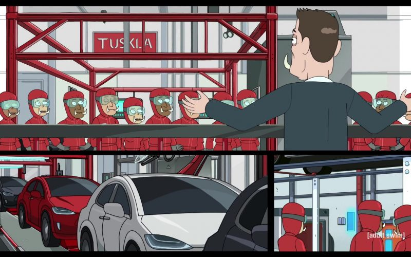 Tesla as Tuskla and Elon Musk as Elon Tusk in Rick and Morty Season 4 Episode 3 (1)