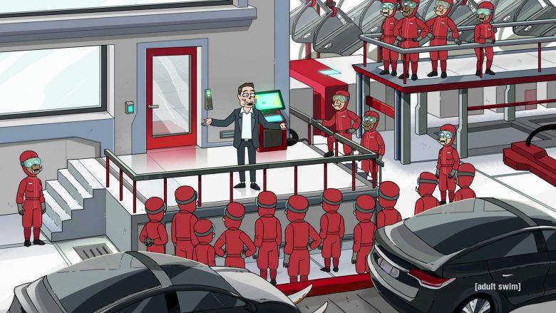 Tesla as Tuskla and Elon Musk as Elon Tusk in Rick and Morty Season 4 Episode 3 (2)