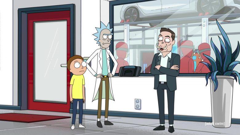 Tesla as Tuskla and Elon Musk as Elon Tusk in Rick and Morty Season 4 Episode 3 (3)
