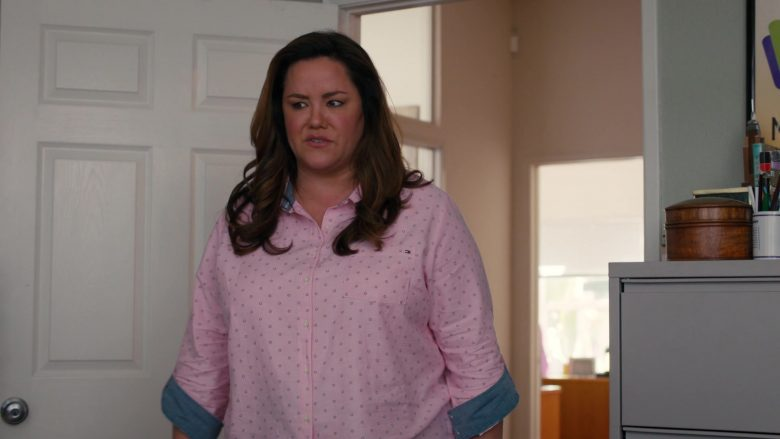 Tommy Hilfiger Pink Shirt Worn by Katy Mixon as Katie Otto in American Housewife Season 4 Episode 7 (3)