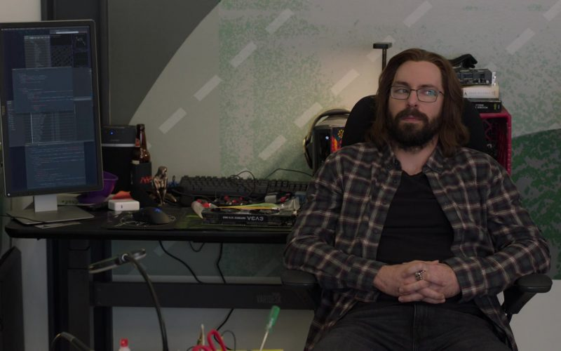 Varidesk Desk Used by Martin Starr as Bertram Gilfoyle in Silicon Valley Season 6 Episode 2
