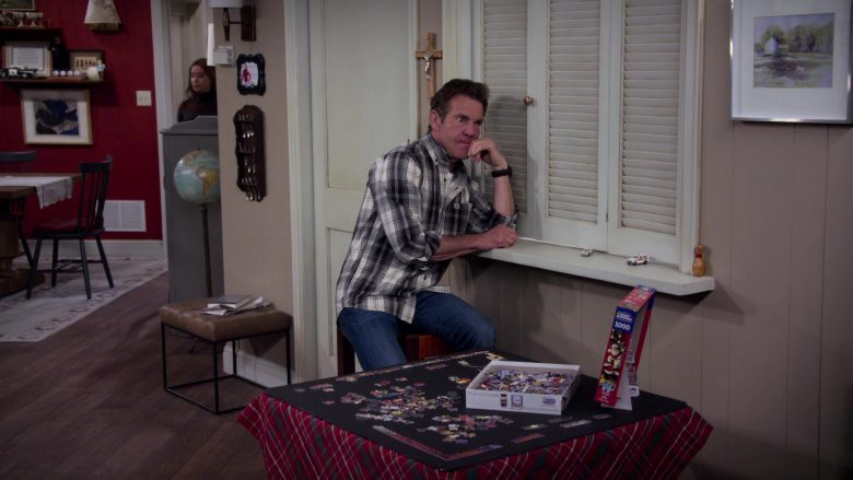 """White Mountain Puzzles Used by Dennis Quaid as Don Quinn in Merry Happy Whatever Season 1 Episode 2 """"Harmony"""" (2019) - TV Show Product Placement"""
