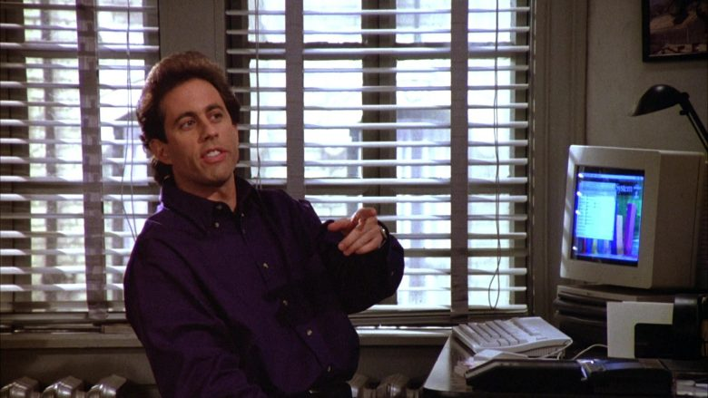 """Apple Computer Used by Jerry Seinfeld in Seinfeld Season 5 Episode 12 """"The Stall"""" (1994) - TV Show Product Placement"""