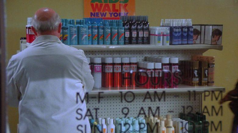 Aqua Net, Rave, Vitalis, Vo5 in Seinfeld Season 7 Episode 9 The Sponge