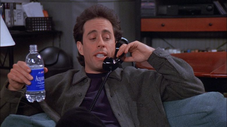 Aquafina Water Enjoyed by Jerry Seinfeld in Seinfeld Season 8 Episode 18 The Nap