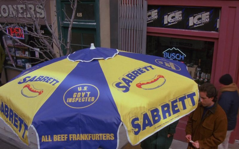Budweiser Ice Draft Beer & Sabrett Hot Dogs in Seinfeld Season 6 Episode 12 The Label Maker