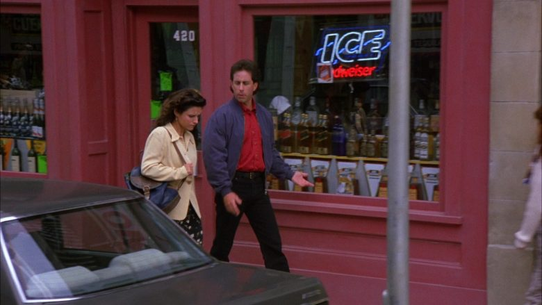 "Budweiser Ice Draft Beer Sign in Seinfeld Season 6 Episode 2 ""The Big Salad"" (1994) - TV Show Product Placement"