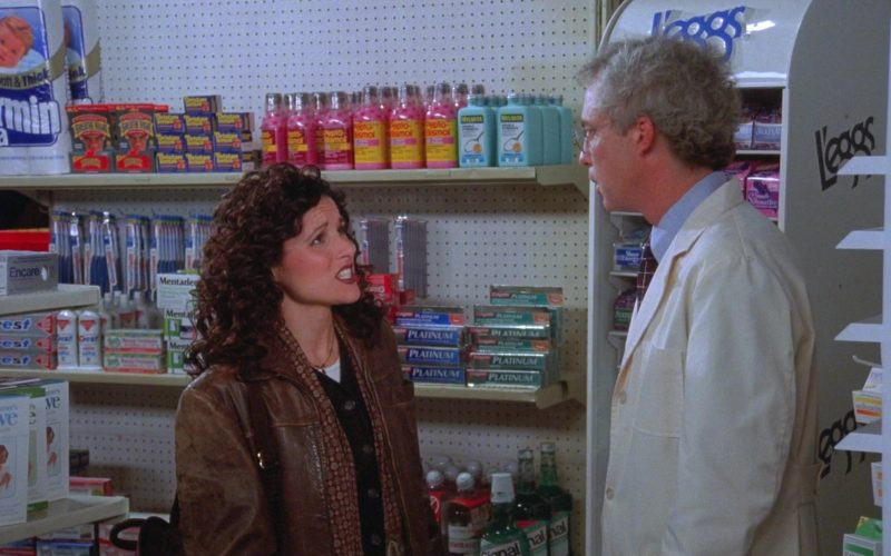 Charmin Ultra, Pepto-Bismol, Crest, Colgate Platinum, L'eggs in Seinfeld Season 7 Episode 9 The Sponge