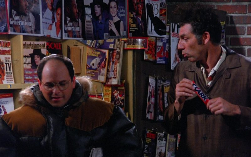 Clark Candy Bar Held by Michael Richards as Cosmo Kramer in Seinfeld Season 5 Episode 13 (1)