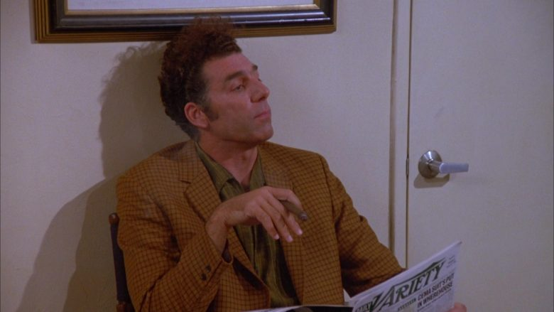 Daily Variety Magazine Held by Michael Richards as Cosmo Kramer in Seinfeld Season 5 Episode 2 (2)