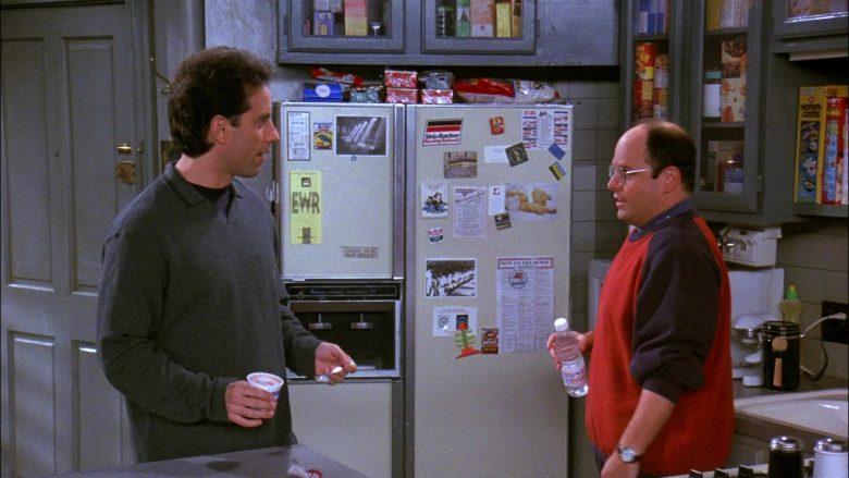 Evian Bottled Water Held by Jason Alexander as George Costanza in Seinfeld Season 8 Episode 5