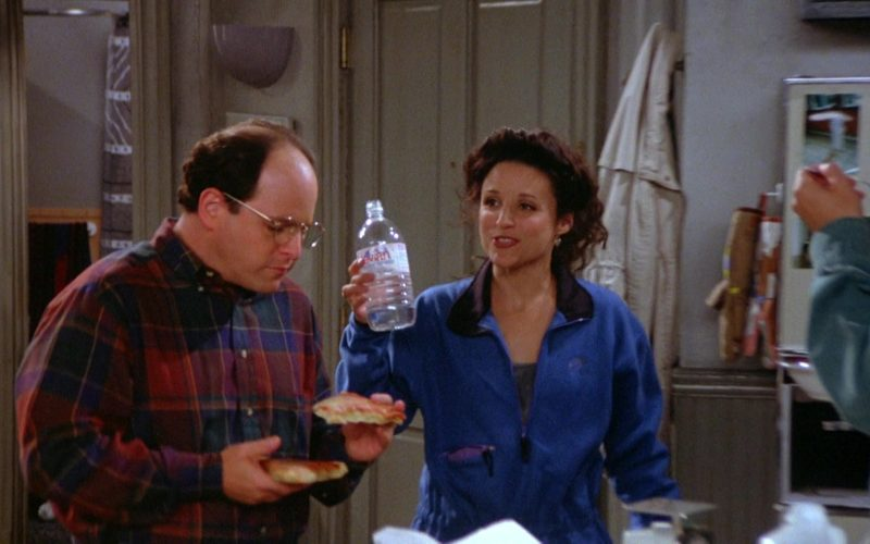 Evian Bottled Water Held by Julia Louis-Dreyfus as Elaine Benes in Seinfeld Season 5 Episode 7 (1)