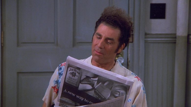 Jim Beam Kentucky Straight Bourbon Whiskey Newspaper Advertising in Seinfeld Season 9 Episode 2 The Voice