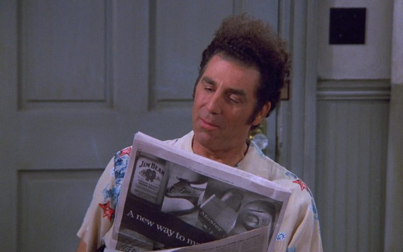 Jim Beam Kentucky Straight Bourbon Whiskey Newspaper Advertising in Seinfeld Season 9 Episode 2 The Voice