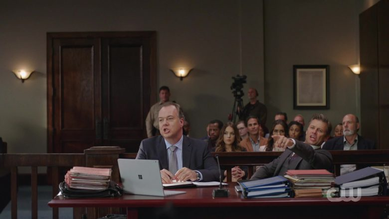 """Microsoft Surface Laptop in Dynasty Season 3 Episode 8 """"The Sensational Blake Carrington Trial"""" (2019) - TV Show Product Placement"""