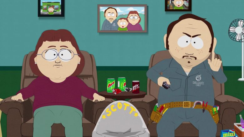 Mountain Dew and Dr Pepper Soda Cans in South Park Season 23 Episode 9