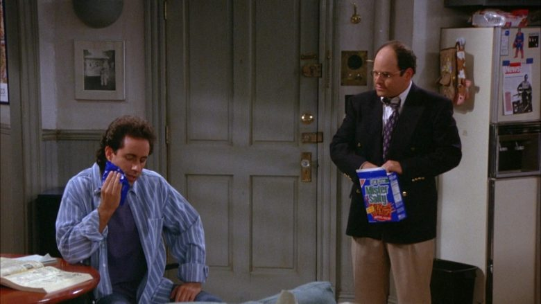 Nabisco Mister Salty Pretzels Held by Jason Alexander as George Costanza in Seinfeld Season 6 Episode 8 The Mom & Pop Store (2)