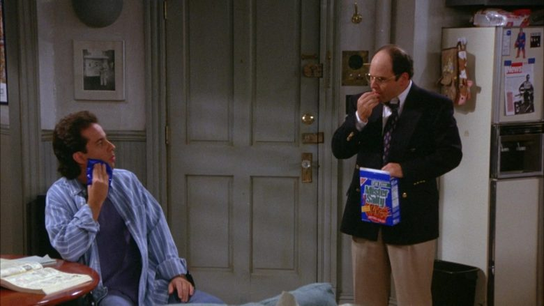 Nabisco Mister Salty Pretzels Held by Jason Alexander as George Costanza in Seinfeld Season 6 Episode 8 The Mom & Pop Store (3)