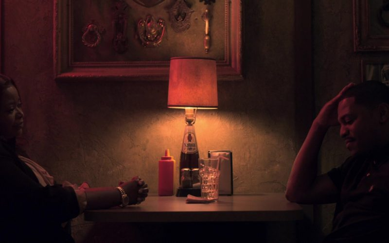 Natural Light Beer Lamp in Truth Be Told Season 1 Episode 5 Graveyard Love (2)