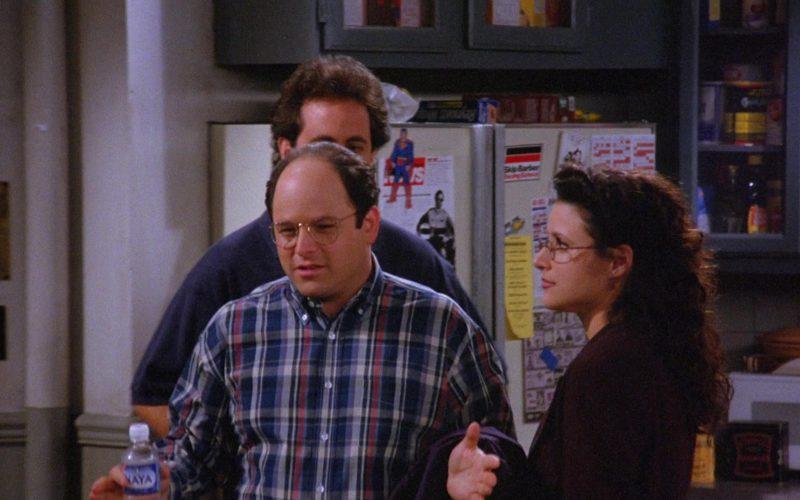Naya Bottled Water Held by Jason Alexander as George Costanza in Seinfeld Season 6 Episode 11