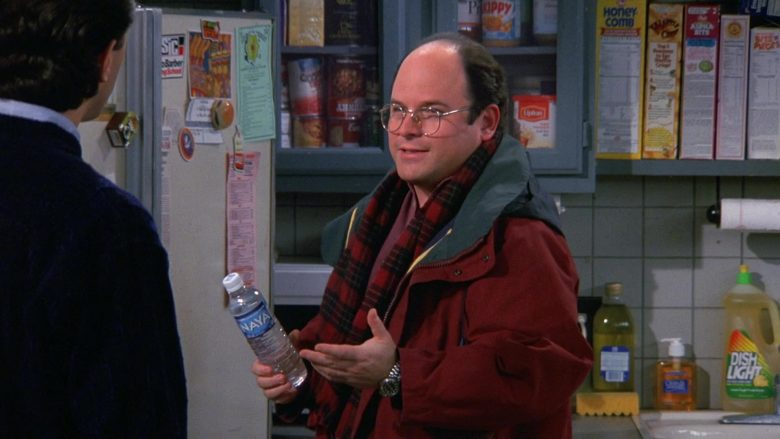 Naya Water Enjoyed by Jason Alexander as George Costanza in Seinfeld Season 9 Episode 12 The Reverse Peephole
