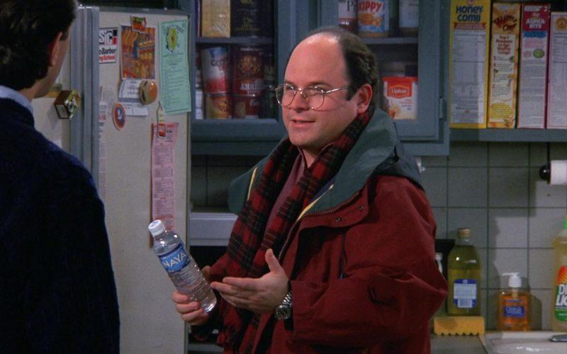 Naya Water Enjoyed by Jason Alexander as George Costanza in Seinfeld Season 9 Episode 12 The Reverse Peephole