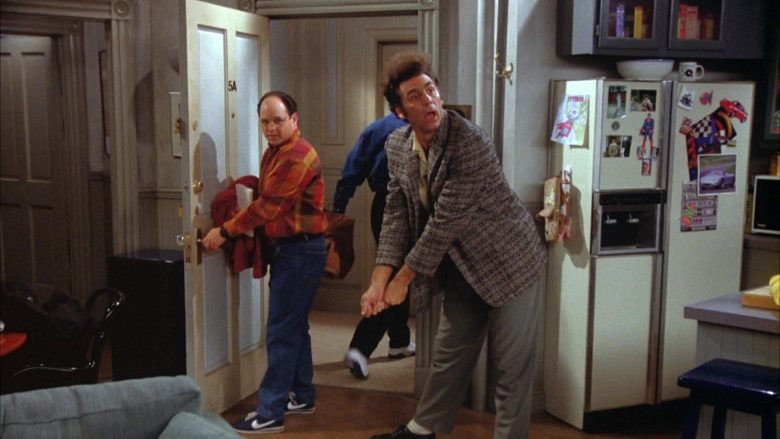 Nike Blue Shoes White Logo Worn by Jason Alexander as George Costanza in Seinfeld Season 5 Episode 14