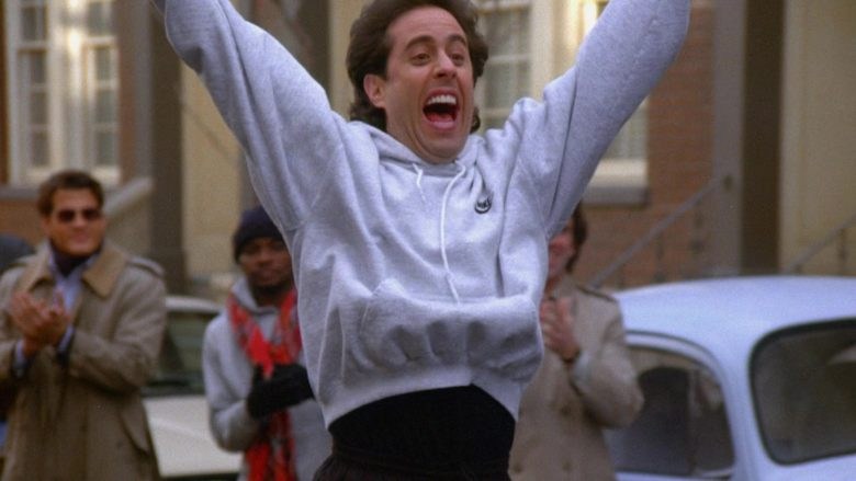 Nike Grey Hoodie Worn by Jerry Seinfeld in Seinfeld Season 9 Episode 21 The Chronicle