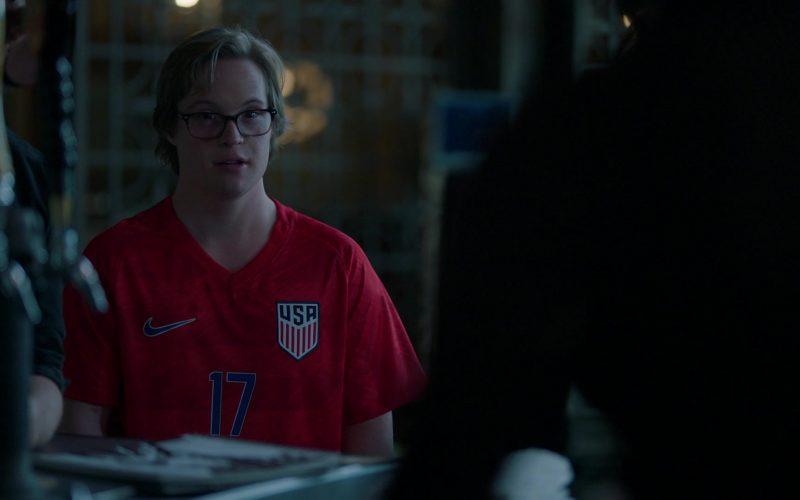 Nike Red T-Shirt Worn by Cole Sibus as Ansel Parios in Stumptown Season 1 Episode 8 (1)