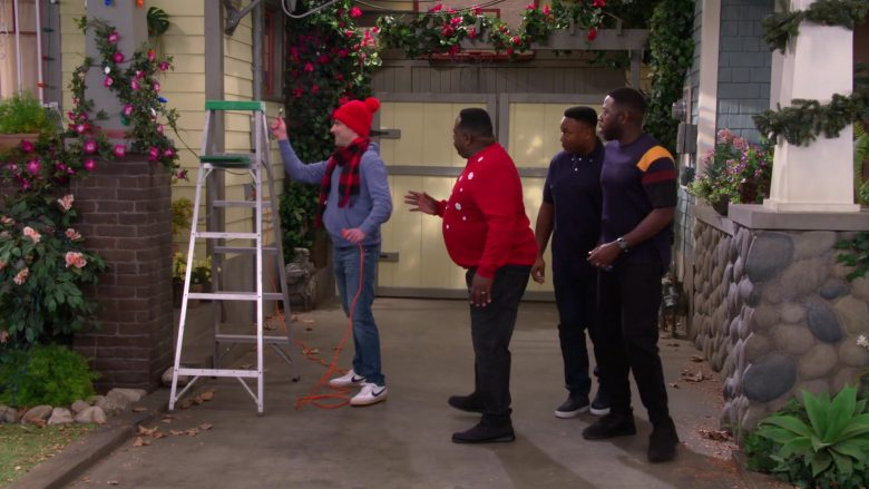 Nike White Sneakers For Men Worn by Max Greenfield as Dave Johnson in The Neighborhood Season 2 Episode 11