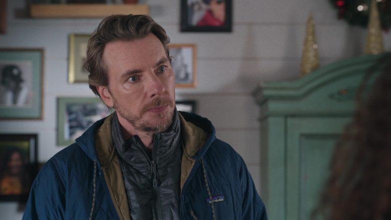 Patagonia Blue Jacket For Men Worn by Dax Shepard as Mike Levine-Young in Bless This Mess Season 2 Episode 9 (2)
