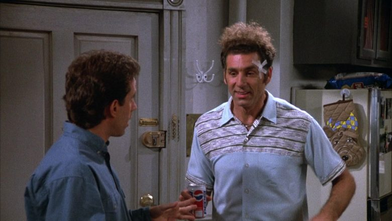 "Pepsi Cola Enjoyed by Michael Richards as Cosmo Kramer in Seinfeld Season 4 Episode 5 ""The Wallet"" (1992) - TV Show Product Placement"