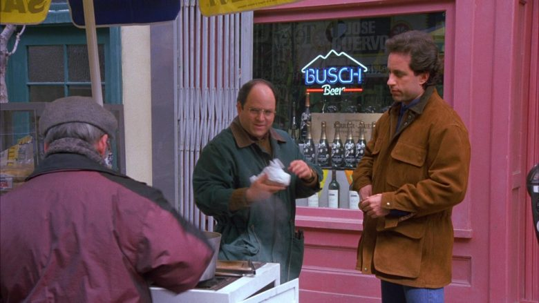 Perrier-Jouët Champagne Bottles and Busch Beer Sign in Seinfeld Season 6 Episode 12