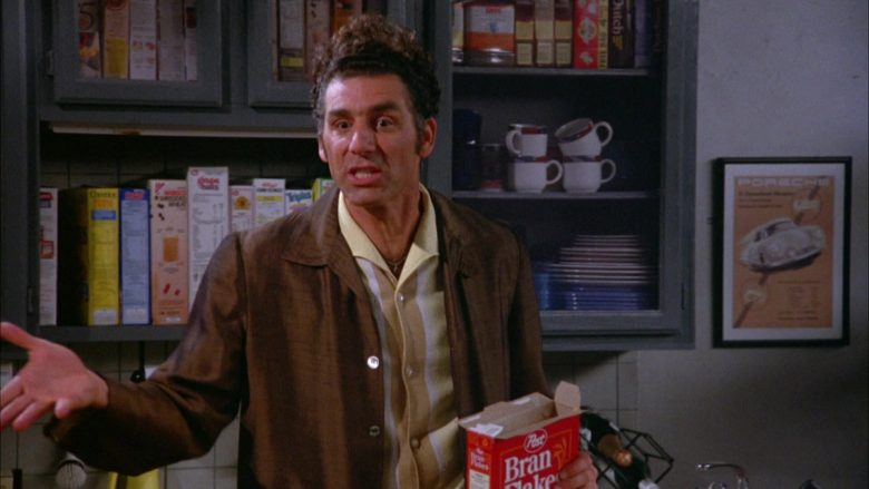 Post Bran Flakes Cereal Held by Michael Richards as Cosmo Kramer in Seinfeld Season 5 Episode 5