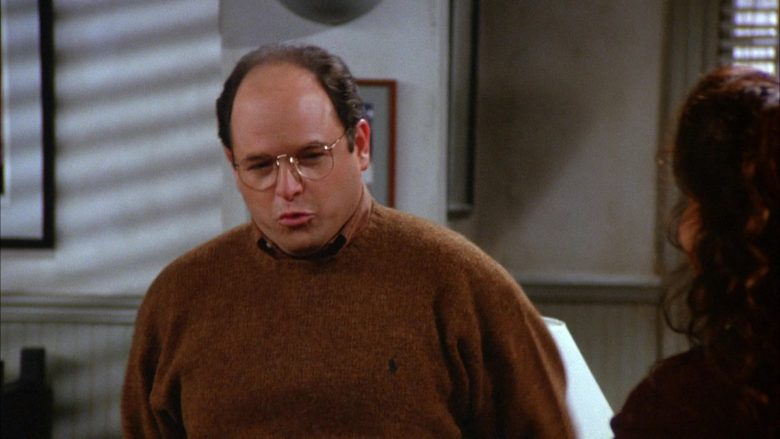 "Ralph Lauren Brown Sweater Worn by Jason Alexander as George Costanza in Seinfeld Season 6 Episode 8 ""The Mom & Pop Store"" (1994) TV Show"