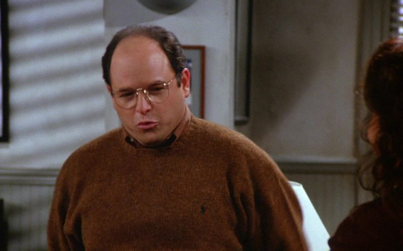 Ralph Lauren Brown Sweater Worn by Jason Alexander as George Costanza in Seinfeld Season 6 Episode 8 The Mom & Pop Store (1)
