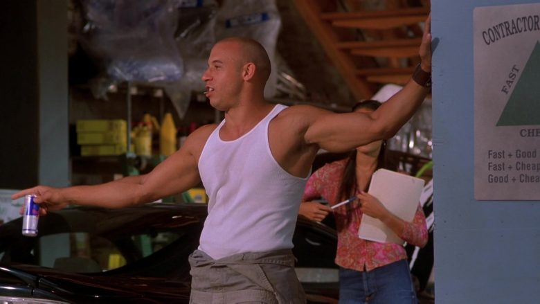 Red Bull Energy Drink Enjoyed by Vin Diesel as Dominic Toretto in The Fast and the Furious