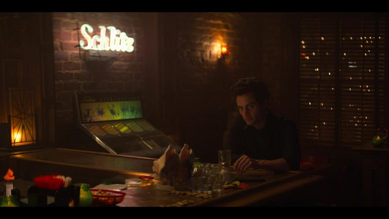 Schlitz Beer White Neon Sign in YOU Season 2 Episode 8 Fear and Loathing in Beverly Hills