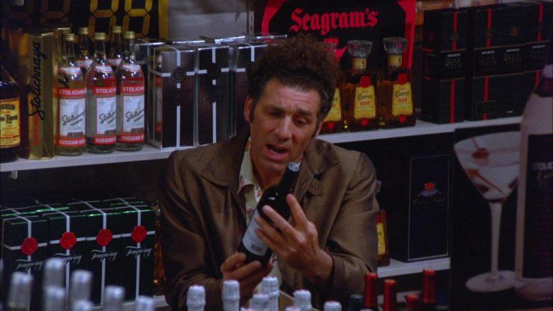 Stolichnaya, Seagram's, Cuervo in Seinfeld Season 5 Episode 13 The Dinner Party (2)